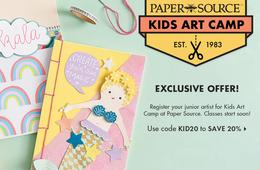 CertifiKID Exclusive! 20% Off Paper Source Week-Long Kids Art Camp