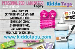Personalized Laminated Back to School Labels from Kiddo Tags