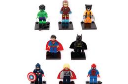 Set of 8 Building Block Mini Figures - Superheros, Princesses, Wizards & Dinosaurs!