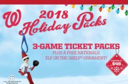 $49+ for 3-Game Nationals Baseball Holiday Ticket Gift Pack + FREE Nationals Elf on the Shelf Ornament!