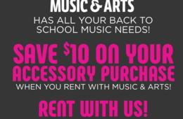 Back to School Special! $10 Off Accessory Purchase When You Rent an Instrument at Music & Arts!