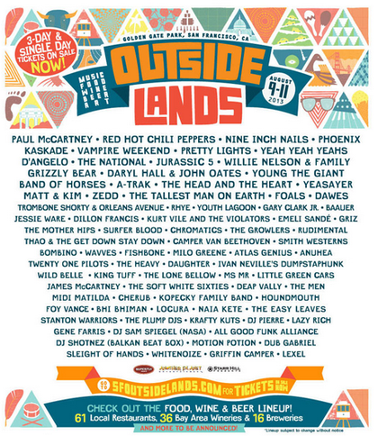 Outside Lands 2017 VIP Passes Have Sold Out