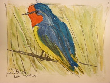 Charitybuzz: Barn Swallow Watercolor Painting: Take Home ...