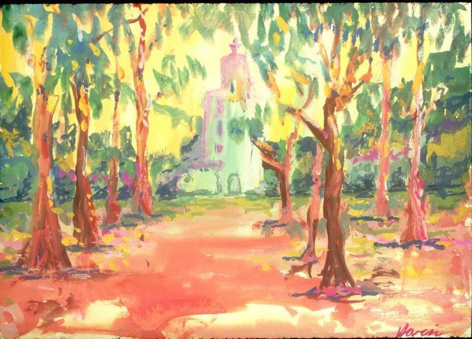 California Mission Watercolor on Paper by Grateful Dead     - Charitybuzz