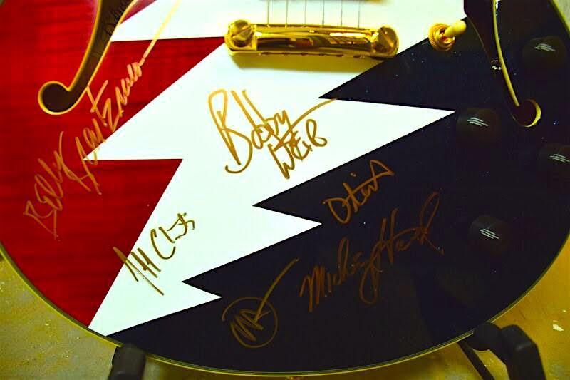charitybuzz rare lightning bolt guitar signed by bob weir john mayer lot 1141501. Black Bedroom Furniture Sets. Home Design Ideas