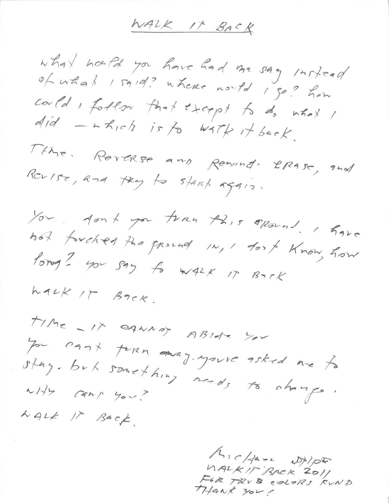Charitybuzz Michael Stipe Handwritten Walk It Back Lyrics Lot 253935