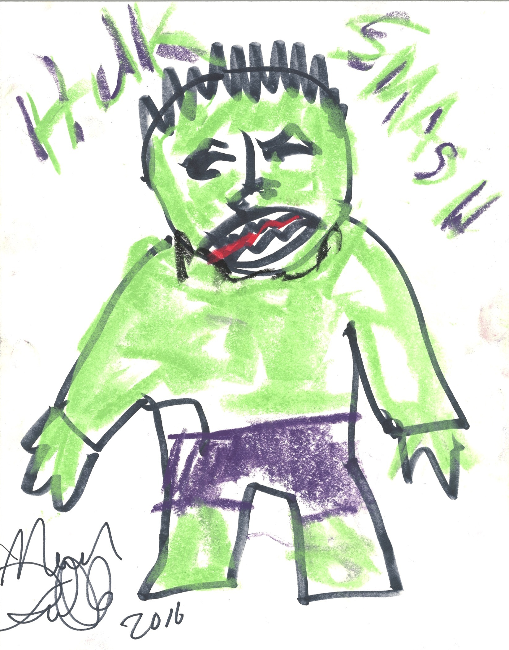 Charitybuzz Drawing Of The Hulk By Mark Ruffalo Lot 1526716