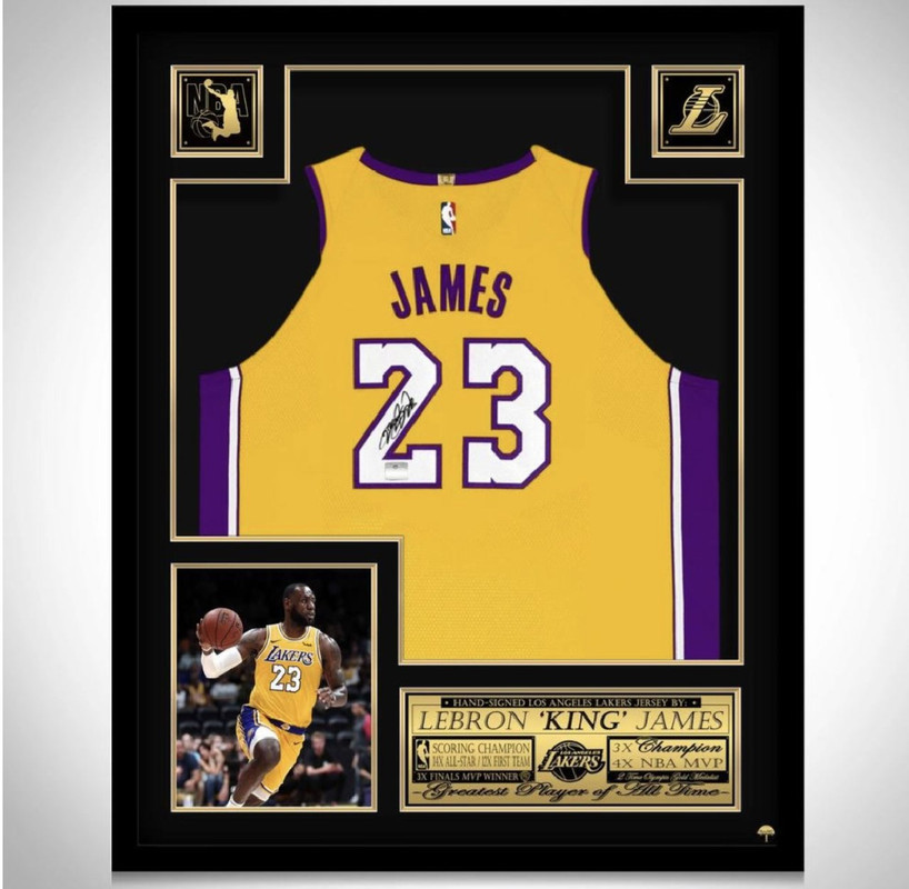 Charitybuzz: LeBron James Lakers Autographed Framed Jersey - Lot ...