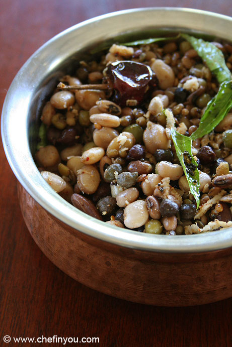 Mixed Beans Sundal Recipe | Mixed Lentils Sundal Recipes | 9 Legumes Salad Recipe
