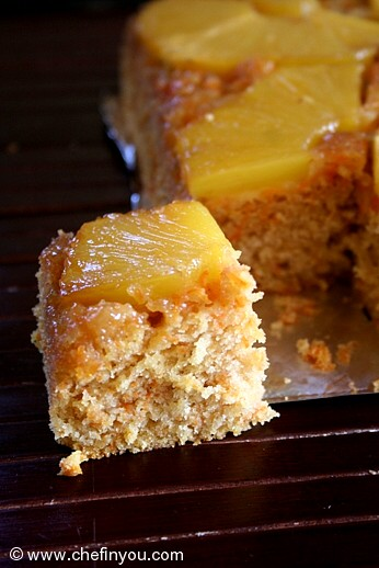 Pineapple Upside down cake with carrot | Whole wheat Cake recipe