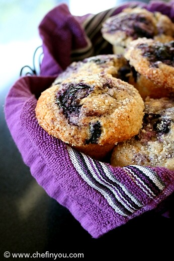 Whole Wheat Blueberry Muffins Recipe |  Classic Blueberry Muffins | Breakfast Recipes