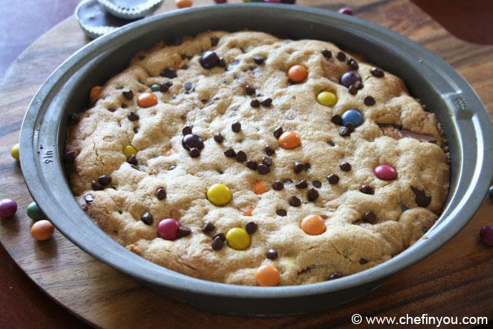 Chocolate Chip M&M Cookie Cake