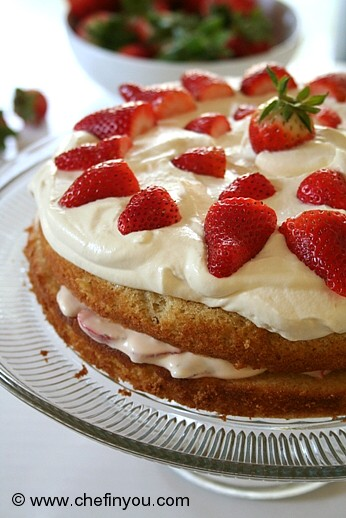 Strawberry Whipped Cream Cake Recipe | Strawberries Recipes