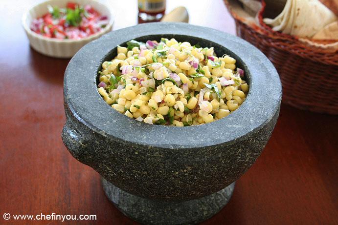 Chipotle Style Roasted Chili Corn Salsa Recipe | Homemade Corn Salsa Recipe