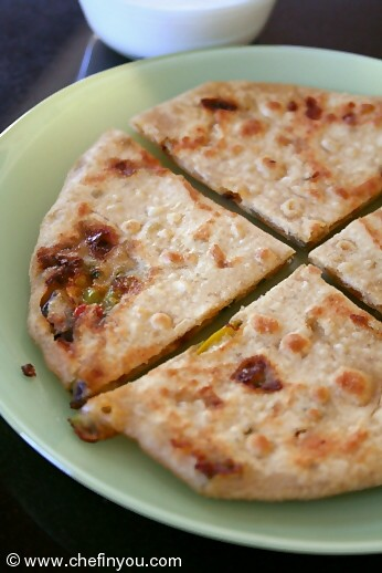 Capscium and Cheese Paratha Recipe |  Purple Bell Pepper Recipes