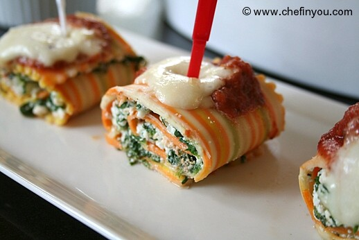 Spinach Ricotta Cheese Lasagna Rolls Recipe |  Mini Lasagna Roll Ups recipe
