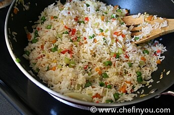Vegetable fried rice recipe indian indo chinese recipes chef next add the rice stir until combined ccuart Images