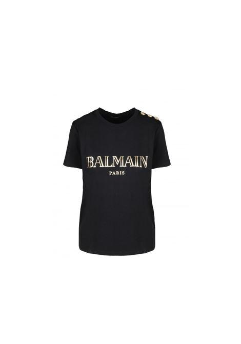 T-SHIRT CON BOTTONI GIOIELLO BALMAIN | 8 | TF11350I366EAD