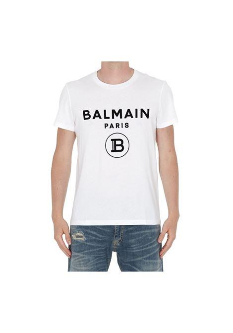 T-SHIRT ADERENTE CON STAMPA BALMAIN | 8 | UH11601I372GAB