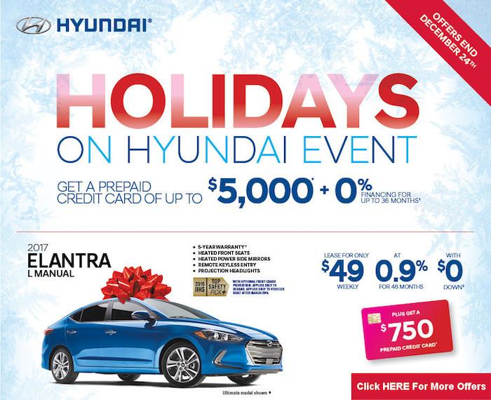 Holidays On Hyundai Event Only Till December 24th