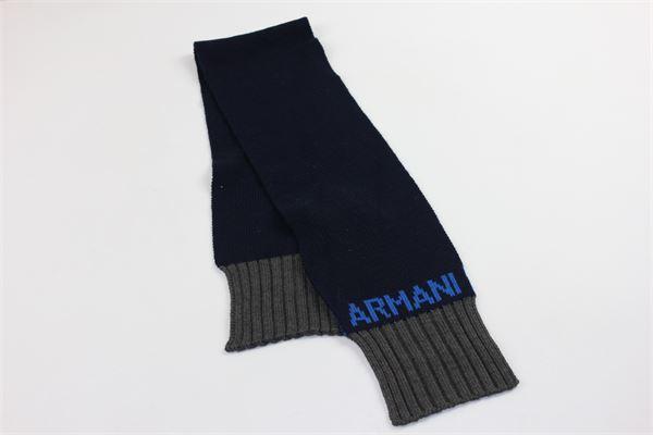 sciarpa tinta bordi in contrasto e stampa armani ARMANI | Sciarpe | 4043217A507BLU