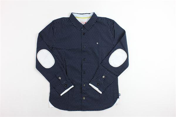 camicia microfantasia con toppe ai gomiti BOBOLI | Camicie | 734251BLU