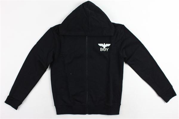 felpa con zip e cappuccio stampa logo boy london BOY LONDON | Felpe | GFBL183202JNERO