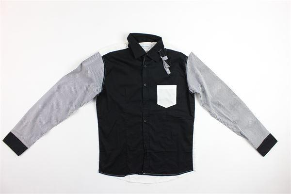 camicia bicolore con maniche rigate BRIAN RUSH | Camicie | BR1713NERO