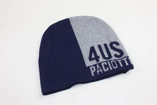 cappello tricot bicolore stampa 4us paciotti CESARE PACIOTTI | Cappelli | CAP183906BBLU