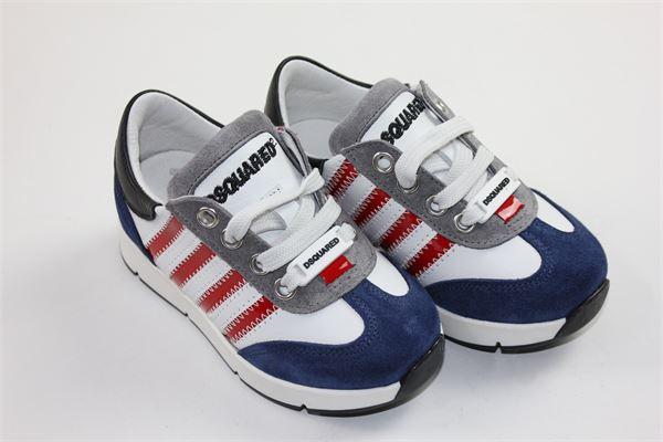 scarpe snickers con lacci DSQUARED | Scarpe | 57149BIANCO