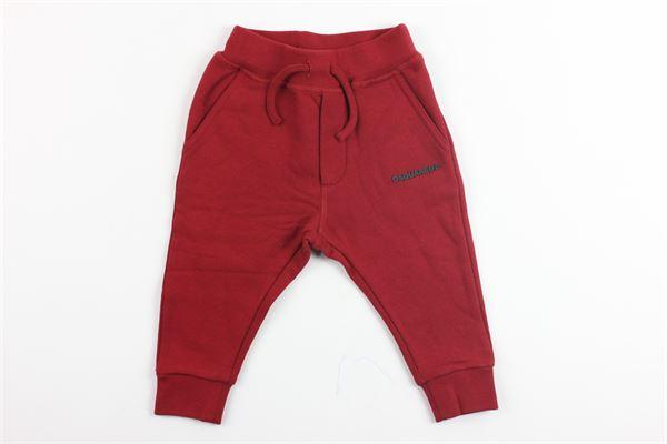 pantalone in felpa cavallo basso DSQUARED | Pantaloni | DQ02FDROSSO