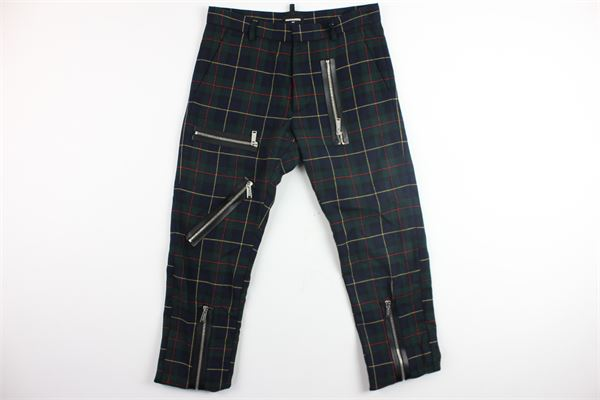 pantalone con zip e fantasia principe di galles DSQUARED | Pantaloni | DQ02J5-D00P2BLU