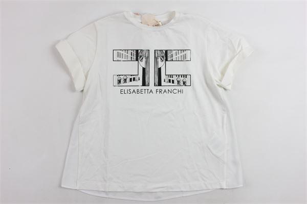 con stampa ELISABETTA FRANCHI   T-shirts   EFTS51JE95BIANCO