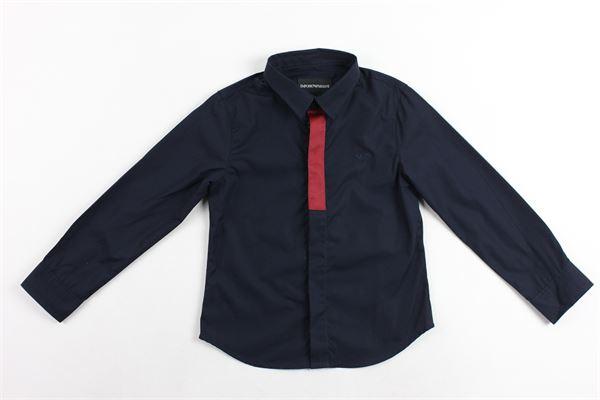 camicia m/l tinta unita profili in contrasto EMPORIO ARMANI | Camicie | 6Z4CB3BLU