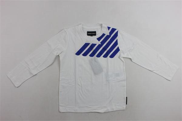 shirt m/l tinta unita con stampa logo emporio armani EMPORIO ARMANI | Shirts | 6Z4D034J09ZBIANCO