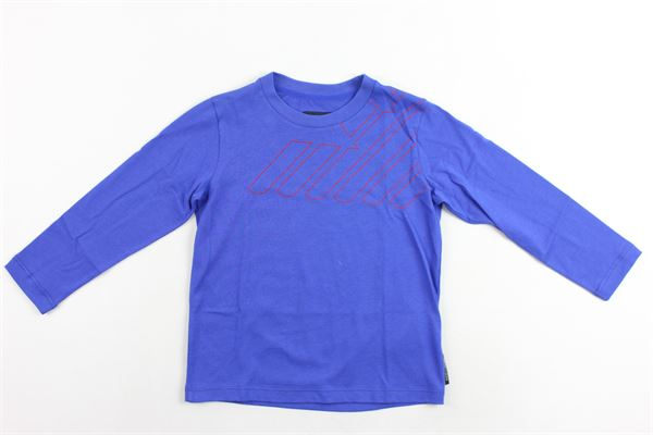 shirt m/l tinta unita con stampa logo emporio armani EMPORIO ARMANI | Shirts | 6Z4D034J09ZCOBALTO