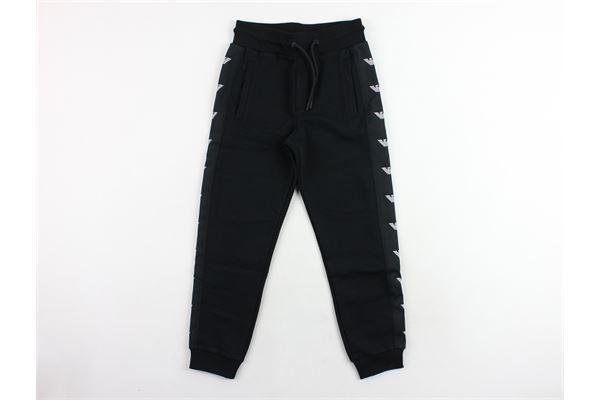 pantalone in felpa con profili logo emporio armani EMPORIO ARMANI | Pantaloni | 6Z4P971J07ZNERO