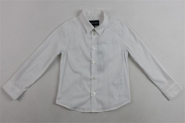 camicia m/l tinta unita con logo emporio armani EMPORIO ARMANI | Camicie | 8N4C09BIANCO