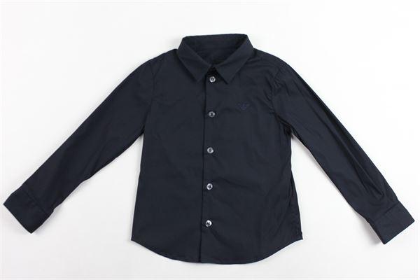 camicia m/l tinta unita con logo emporio armani EMPORIO ARMANI | Camicie | 8N4C09BLU