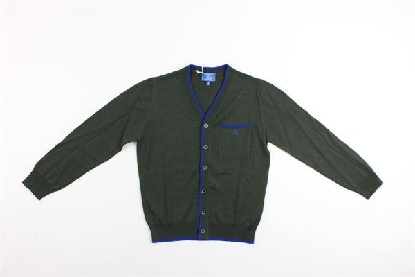 maglia cardigan con profili in contrasto FAY | Maglie | NNHC1377530VERDE