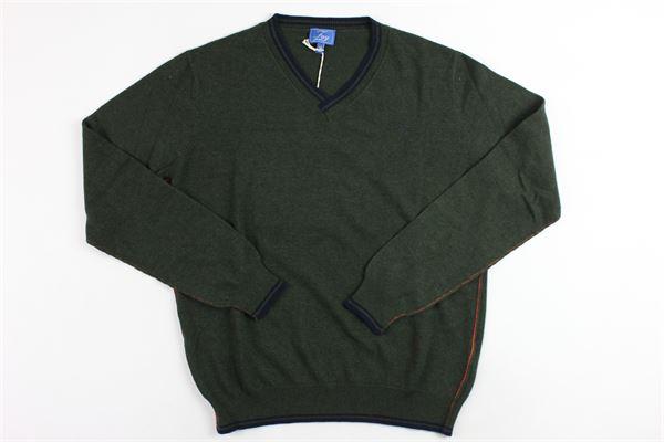 maglia a punta con profili in contrasto FAY | Maglie | NNIC1357460VERDE