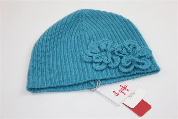 cappello lana costina applicazione fiori IL GUFO | Cappelli | A17EO187EM220TURCHESE