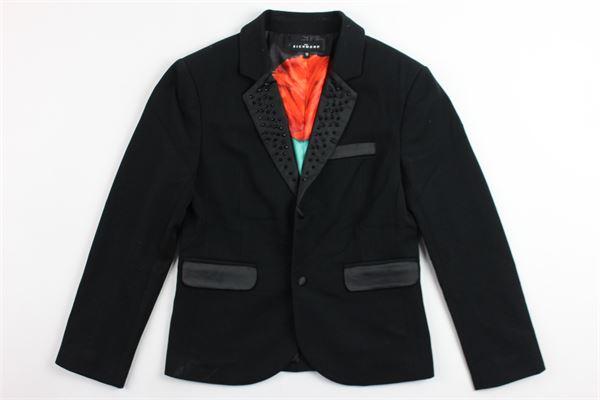 giacca tinta unita modello smoking con applicazioni JOHN RICHMOND | Giacche | BJ01WGNERO