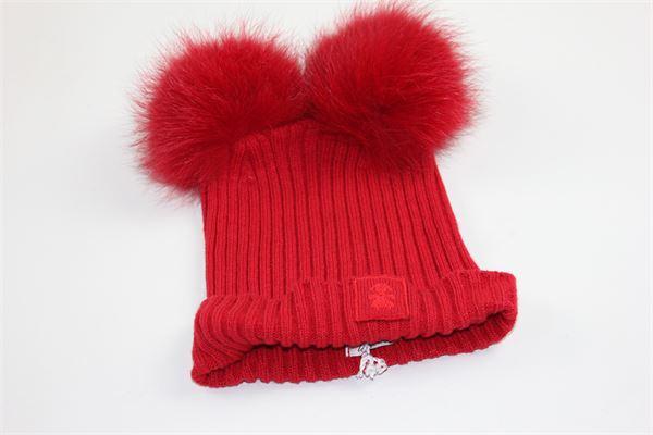 cappello tinta unita costine con pon pon LE BEBE' | Cappelli | LBG1022ROSSO