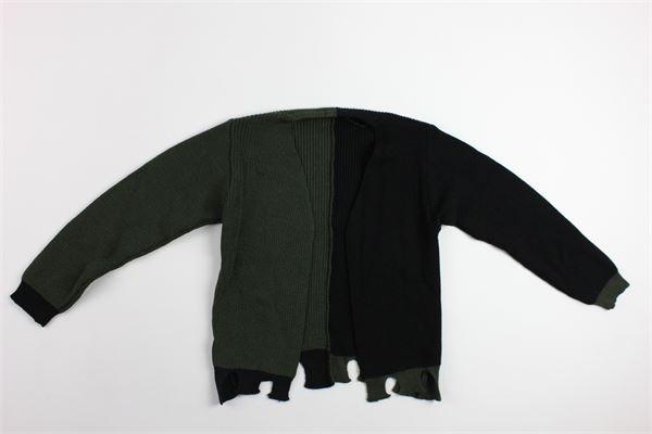 maglia cardigan bicolore MOOD_ONE | Maglie | MAGLIERIA03NERO