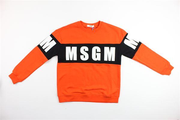 felpa girocollo con stampa msgm MSGM   Felpe   015831ARANCIONE
