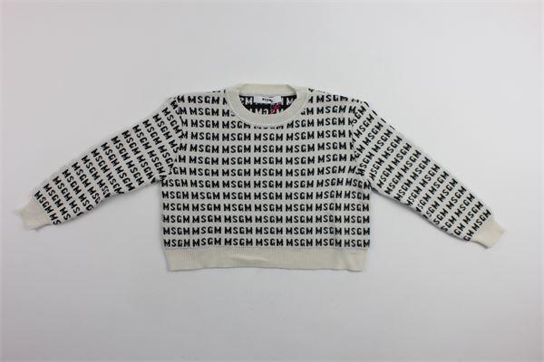 maglia girocollo con stampa msgm MSGM | Maglie | 016613BIANCO