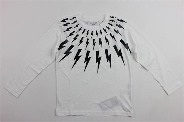 shirt m/l con stampa fulmini NEIL BARRETT | Shirts | 016206BIANCO