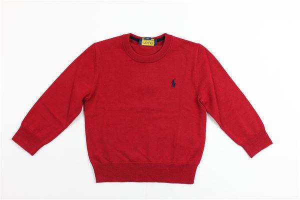 maglia girocollo tinta nunita con logo RALPH LAUREN | Maglie | 321702312001ROSSO