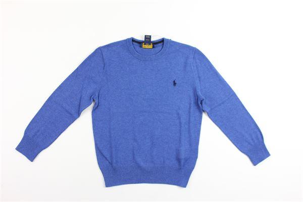 maglia girocollo tinta unita con logo RALPH LAUREN | Maglie | 322702192004COBALTO